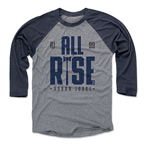 500 LEVEL Aaron Judge Baseball Tee Shirt XX-Large Navy/Heather Gray - New York Baseball Raglan Shirt - Aaron Judge Rise B