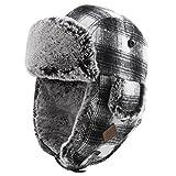 Trapper Hat Faux Fur Aviator Hat with Ear Flaps Russian Winter Cold Weather Hat Men Women Fleece Lined Black-White
