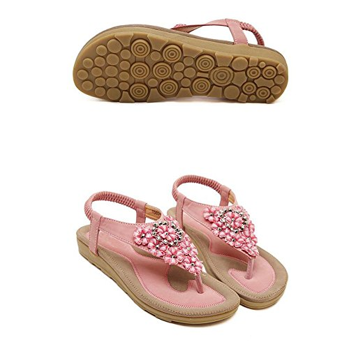 ANDAY Women Summer Beach Sandals Boho Rhinestone Flower Thongs Flip Flops Flat Sandals For Ladies Pink caNmwhwQ