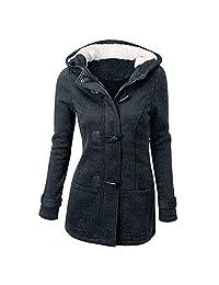 Jubileens Womens Wool Blended Classic Pea Coat Hooded Jacket Slim Overcoat