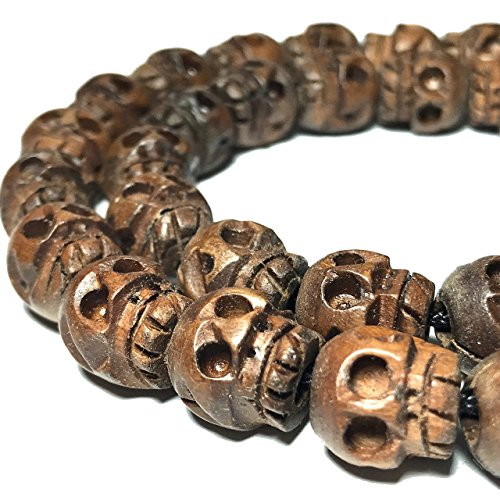 [ABCgems] Extremely Rare Chocolate Kamagong Hardwood AKA Ebony (Prime Cut from Center of Wood) Hand-Carved 8mm Skull Beads for Jewelry ()