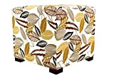 MJL Furniture Designs Merton Collection, Fabric Upholstered Modern Cube Foot Rest Ottoman with 4 Button Tufting, Floral Foliage Series, Driftwood