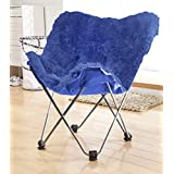 Urban Shop Faux Fur Butterfly Chair, Blue