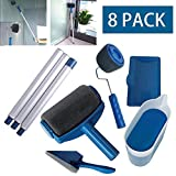 Paint Roller Set Kit, No Seam Decorating Painting Brush Decorative Roller Paint Household Painting Wall Handle Tool Flocked Edger (8Pcs)