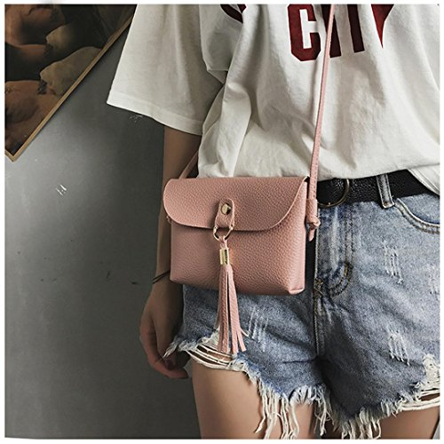Bag Bags Tassel Mini Shoulder Crossbody Seaintheson Handbag Purse Shoulder Vintage Bags Brown Shoulder Clearance Leather Fashion Small Messenger Pink Bag wq76qz0