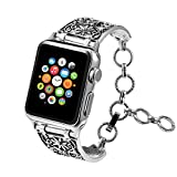 Aokon Bling Bands for Apple Watch Band 38mm 42mm, Vintage Chain Jewelry Bracelet with Rhinestone Bling Replacement Wristband Sport Strap for Apple Watch Nike+, Series 3, Series 2, Series 1