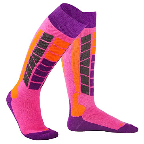 Soared Winter Ski Socks Snowboard Snow Warm Knee Over The Calf OTC High Performance 2 Pairs for 3-8 Years Old Kids Pink