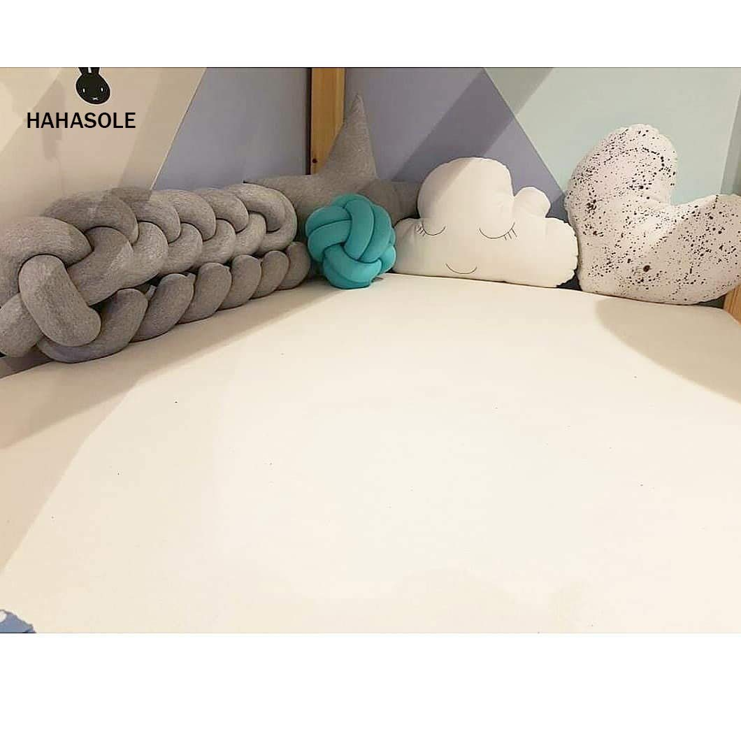 Infant Soft Pad Braided Crib Bumper Knot Pillow Cushion Cradle Decor for Baby Girl and Boy (Grey, 79