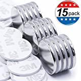 MIKEDE Strong Neodymium Disc Magnets with Double-sided Adhesive, Powerful, Permanent, Rare Earth Magnets. Fridge, DIY, Building, Scientific, Craft, and Office Magnets, 1.26'' D x 1/8 H - Pack of 15