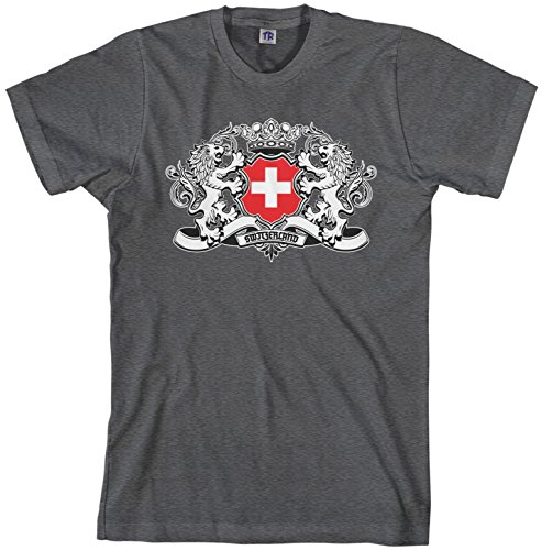 Switzerland Flag T-shirt (Threadrock Men's Switzerland Lion Crest Flag T-shirt XL Dark Heather)