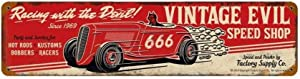 HomDeo Novelty Metal Signs Vintage Evil Racing Devil Retro Poster Display 16 x 4 Inches Tin Sign Wall Decor