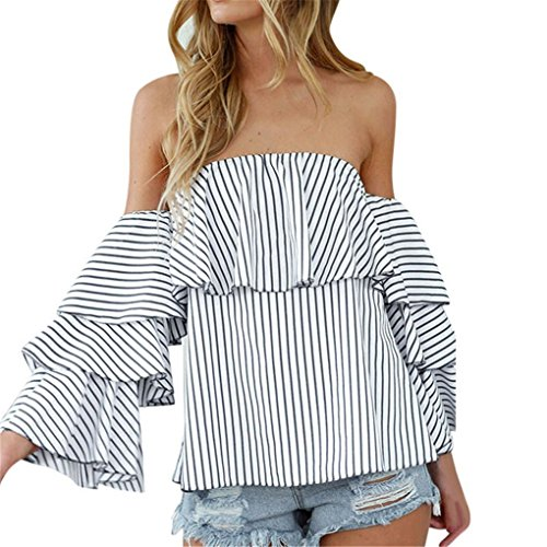 Price comparison product image Women Vest, Haoricu Summer Women Shirt Sexy Off Shoulder Striped Casual Blouse (M,  White)