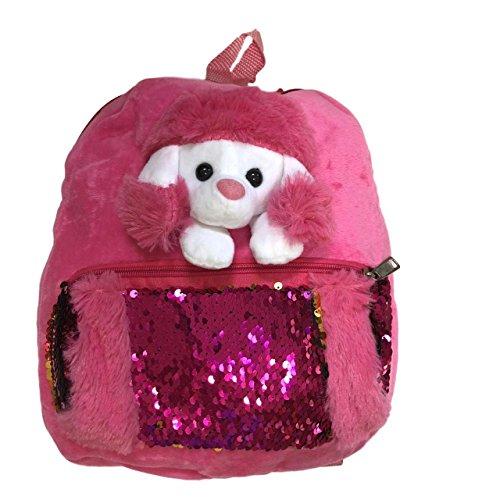 - Plush Pink Sequin Poodle 3D Plush Versatile Backpack