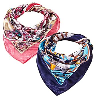 2 PCS Women's Large Satin Square Silk Feeling Hair Scarf 35 x 35 inches (red+navy)