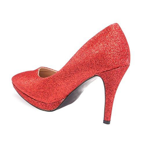 Material Mujer Vestir Rojo De Zapatos La Modeuse Sintético n4qBRFR