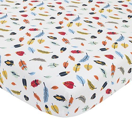 NoJo Aztec Forest 100% Cotton Feather Print Crib Sheet, Navy, Orange, Yellow, Ivory