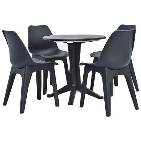 Tidyard - Juego de 3 Piezas (1 Mesa + 2 sillas) para jardín ...