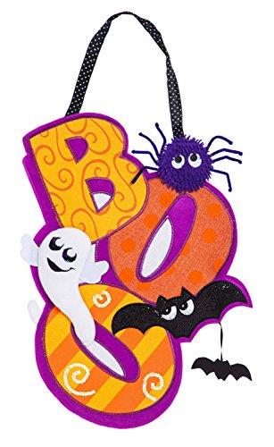 Evergreen Halloween BOO Outdoor Safe Burlap Door (Spooky Halloween Decorating Ideas)