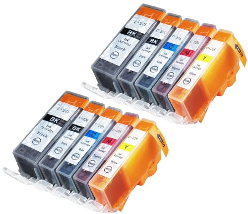 10 Pack Compatible Canon CLI-226 , PGI-225 2 Small Black, 2 Cyan, 2 Magenta, 2 Yellow, 2 Big Black for use with Canon PIXMA iP4820, PIXMA iP4920, PIXMA iX6520, PIXMA MG5120, PIXMA MG5220, PIXMA MG5320, PIXMA MG6120, PIXMA MG6220, PIXMA MG8120, PIXMA MG812