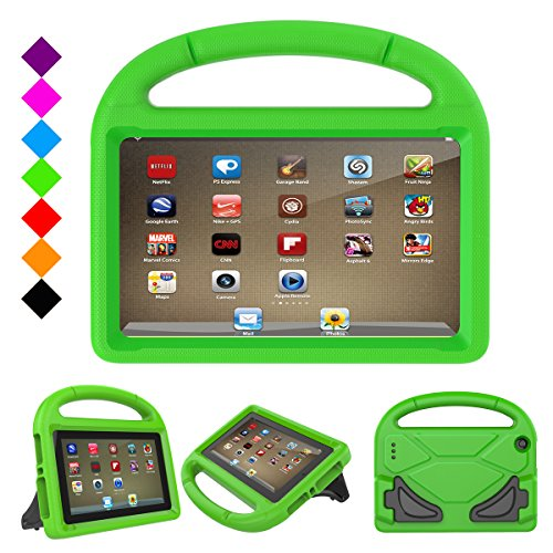 F i r e HD 8 2017 Kids Case, F i r e HD 8 Kids Case - Dinines Light Weight Shock Proof Handle Friendly Stand Kid-Proof Case for All New A m a z o n F i r e 8 inch Display Tablet Cover(2016&2017 Release) (Green)