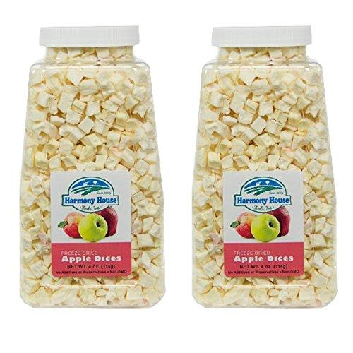 Harmony House Foods Freeze-Dried Apples, diced (3.5 oz, Quart Size Jar) - Set of (Freeze Dried Diced)