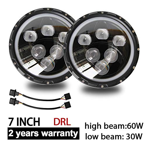 CO LIGHT Pair LED Headlights for Jeep Wrangler 7 inch round Hign Low Beam with Halo DRL for JK TJ LJ Motorcycle with H4 H13 Adapter