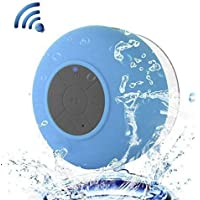 Water Resistant Bluetooth 3.0 Shower Speaker, VICTORSTAR Handfree Portable Speakerphone with Built-in Mic, 6hrs of playtime, Control Buttons and Dedicated Suction Cup for Showers, Bathroom, Pool, Boat, Car, Beach, & Outdoor Use (Blue)