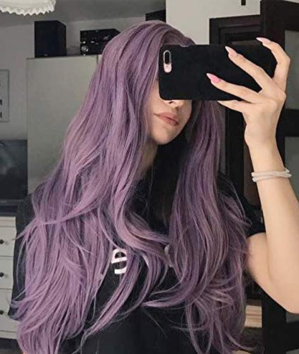 Zenith Halloween Purple Lace Front Wigs with Bangs Cosplay Wigs Lilac Hair 24 inches