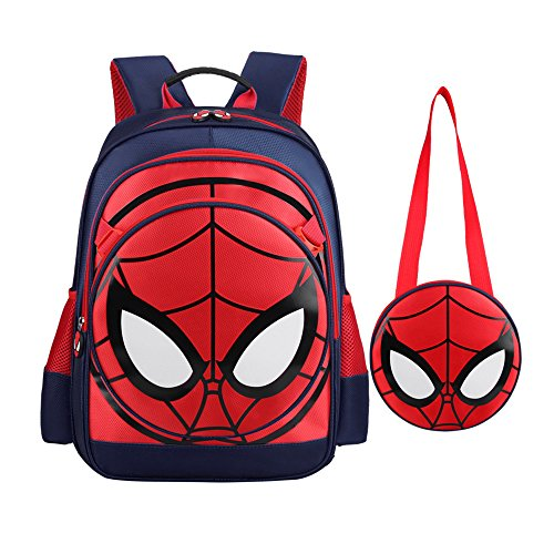 SUNBABY Boys' Backpack Spiderman Fans Gift Waterproof Comic School Bag With Lunch Kit (Spiderman-dark Blue, One Size) ()
