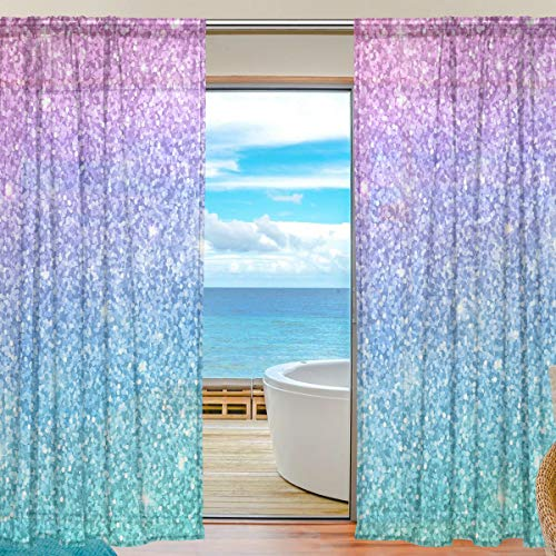 senya Sheers Window Curtains for Living Room Bedroom Pink Blue Glitter Printed Voile Polyester Set of 2 Curtain Panels, 55