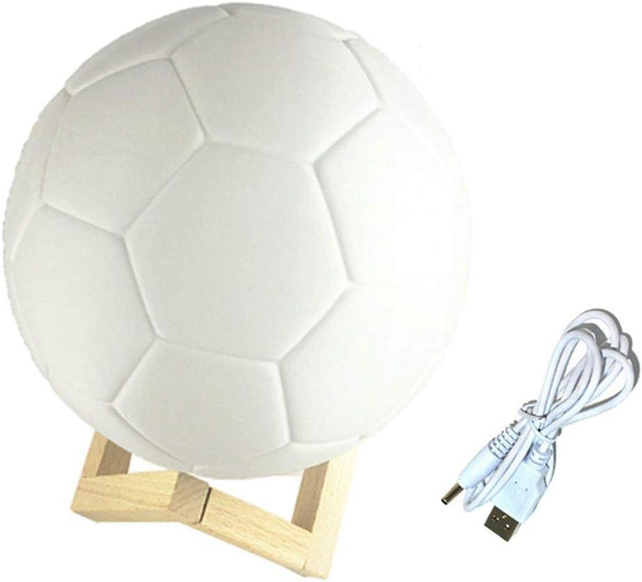 SZQLF - Lámpara LED 3D con diseño de balón de fútbol, táctil, 15 ...