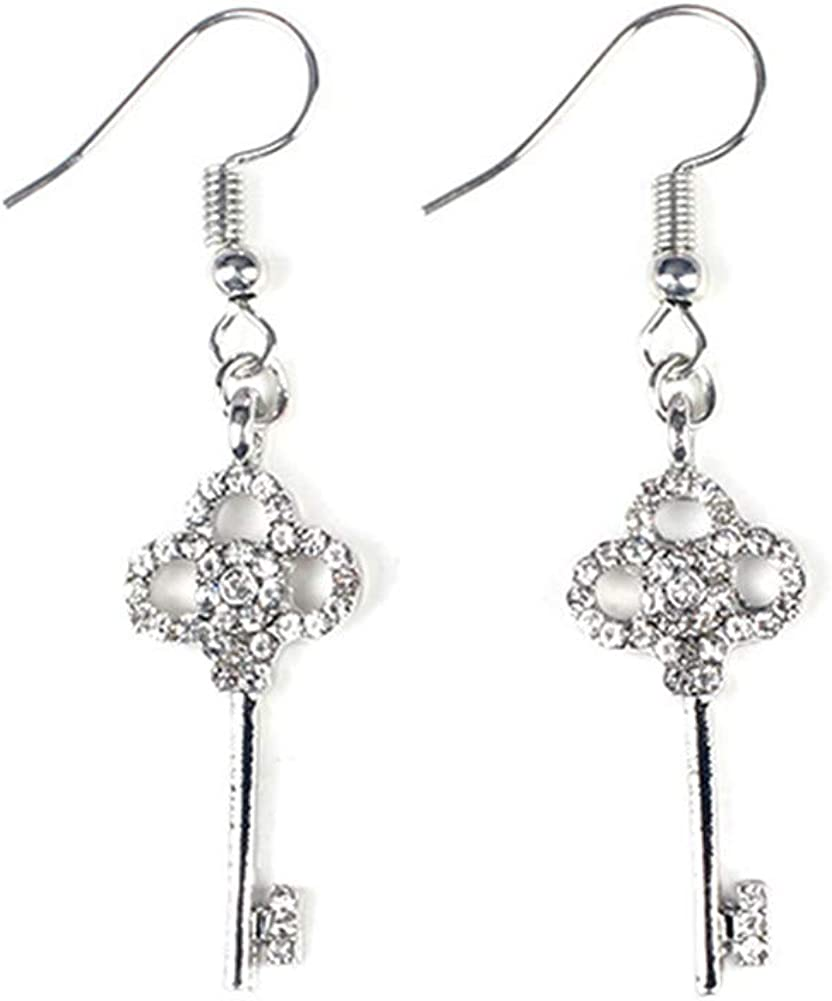 Luck Key Charm Earrings Hollow Cubic Zirconia Three Clover Keys Dangle Tassel Earring