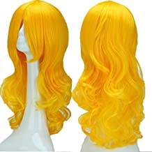 """2-5 Days Delivery Unisex Japanese Anime Cosplay Wigs Synthetic Long Curly Full Party Costume Wig Layered with Bangs and Cap Halloween Wigs for Women Men Girl Boy Teens (24""""-Curly,Yellow)"""