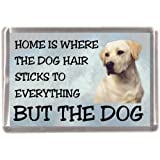"""Yellow Labrador Retriever Fridge Magnet """"HOME IS WHERE THE DOG HAIR STICKS TO EVERYTHING BUT THE DOG"""""""