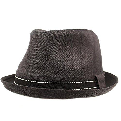 SK Hat shop Men's Fancy Suit Fabric Derby Fedora stingy Curled Brim Hat M/L Black