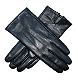 Jasmine Silk Ladies Luxury Black Plain Leather Cashmere Lined Gloves (Large (7.5-8 inches))