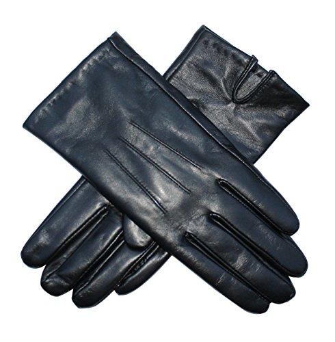 Jasmine Silk Damen Lederhandschuhe aus weichem Ziegennappaleder Cashmere gefüttert Schwarz, Schwarz, Medium (18-19.5cm )
