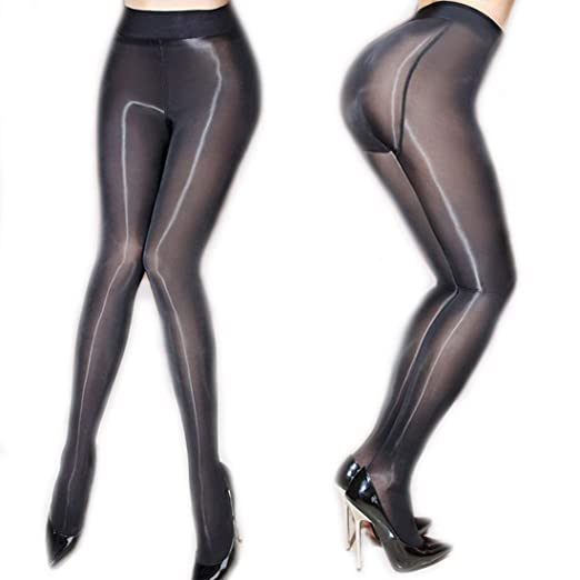 a260cfa3873 ❤️Women s Sheer Tights Stockings Oil Shiny Stockings Pantyhose Sexy Silk  Pantyhose (Black)