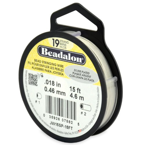 Beadalon 19-Strand Bead Stringing Wire, 0.018-Inch, Silver Plated, 15-Feet ()