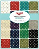 "Seeing Stars Grunge Metallic Christmas-40, 2.5"" x 44"" Cotton Strips Jelly Roll for Moda Fabrics"