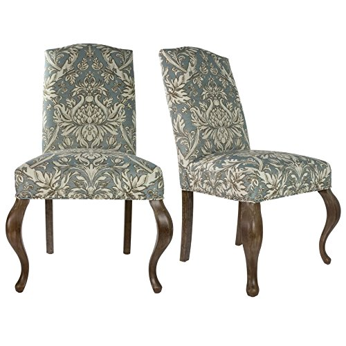 Sole Designs SL3003 Collection Contemporary Camelback Style Patterned Fabric Upholstered Dining Chair (Set of 2), Cream and Light Blue