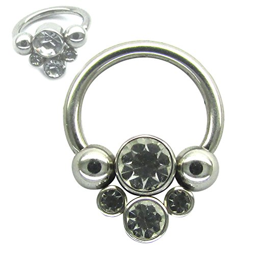 16'') 316L Surgical Steel Septum Circular Ball Helix Daith Rings with Gem Captive Clear Bead (16g Captive Bead Rings)