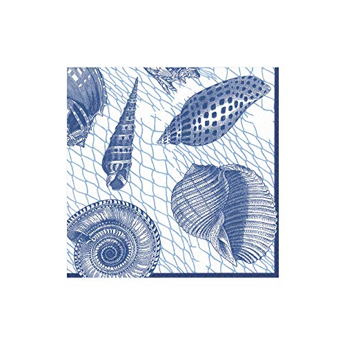 (Caspari Netting and Shells Paper Cocktail Napkins in Blue, Two Packs of 20)