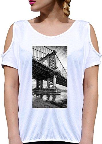 T SHIRT JODE GIRL GGG27 Z1414 BRIDGE SAN FRANCISCO AMERICA CALIFORNIA FUN FASHION COOL BIANCA - WHITE M