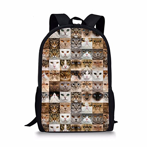 HUGS IDEA Funny Kids Shoulder Shcoolbag Cats Face Pattern Bagpack for Teen Primary School Backpack Review