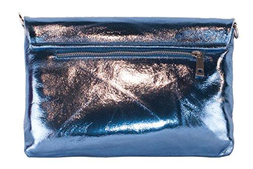 BORDERLINE - 100% Made in Italy - Pochette de mujer en cuero laminado real - BRIGIDA Azul