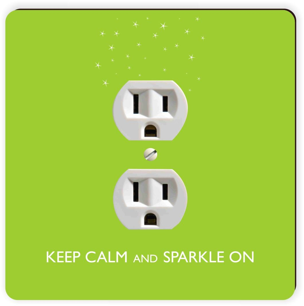 Rikki Knight Keep Calm and Sparkle on Lime Green Color Single Outlet Plate