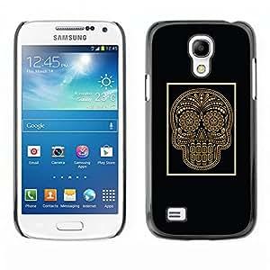 Shell-Star Art & Design plastique dur Coque de protection rigide pour Cas Case pour SAMSUNG Galaxy S4 mini VERSION! / i9190 / i9192 ( Gold Skull Black Poster Bling Floral )
