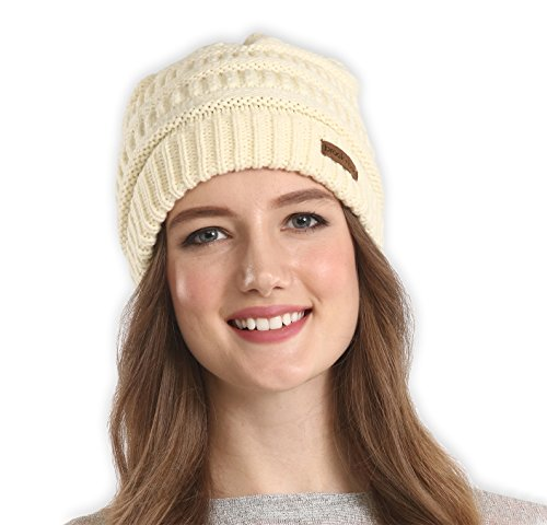Brook + Bay Women's Cable Knit Beanie - Thick, Soft & Warm Chunky Beanie Hats for Winter - Serious Beanies for Serious Style (with 8+ Colors) - Stretch Winter Cap