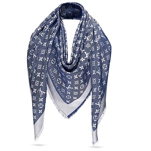 Designer Inspired Monogram Logo Shawl in Denim Blue Scarf -Wrap Imitation Replica Luxurious High End Quality Fabric Fashion Accessory Large Cashmere-Silk Blend Classic Print Made in USA Women's